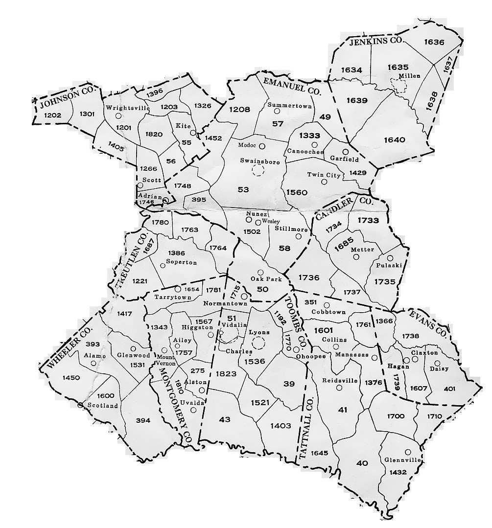Georgia General Militia Districts - Georgia map 1733